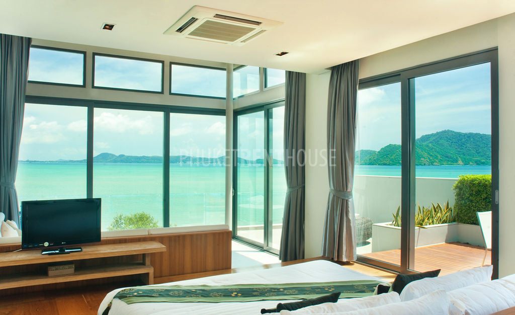 Raw9569 sea front modern tropical villa 3 bd phuket rent house Master bedroom with terrace