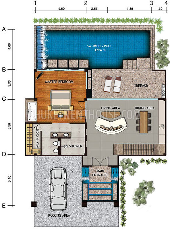 Nat13195 2 bedroom pool villa with sea view in naithon for High security house plans