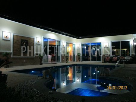 POOL+JUCUZZI and villa night shot. With outside security lights