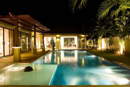 Pool area at night