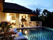 Main villa, evening sunset, pool, deck with 2 ceiling fans