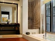 Bathroom with bath, shower stall and WC