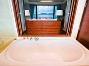 Bathroom with sea view from bathtub
