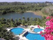 Layan Gardens swimming pools and lake, viewed from the penthouse balcony.