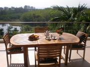 Breakfast on the balcony overlooking the lake