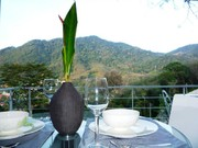 Romantic dinner on balcony with view on lush tropical valley