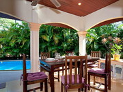 Outside Dining Patio - Covered from the sun and with Ceiling Fans - Perfect for enjoying your meals overlooking your Pool!