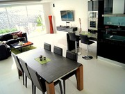 The kitchen and living room, a modern luxury style.